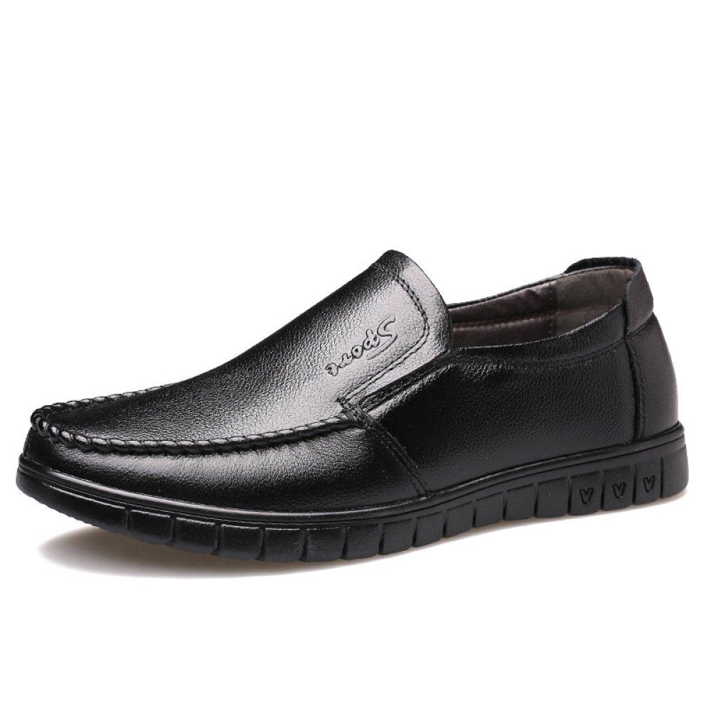 Zapatos de Cuero para Hombres Zapatos Casuales Transpirables de Piel de Vaca Zapatos de Padre de Mediana Edad cómodos Antideslizantes Resistentes al Desgaste 41 EU Black