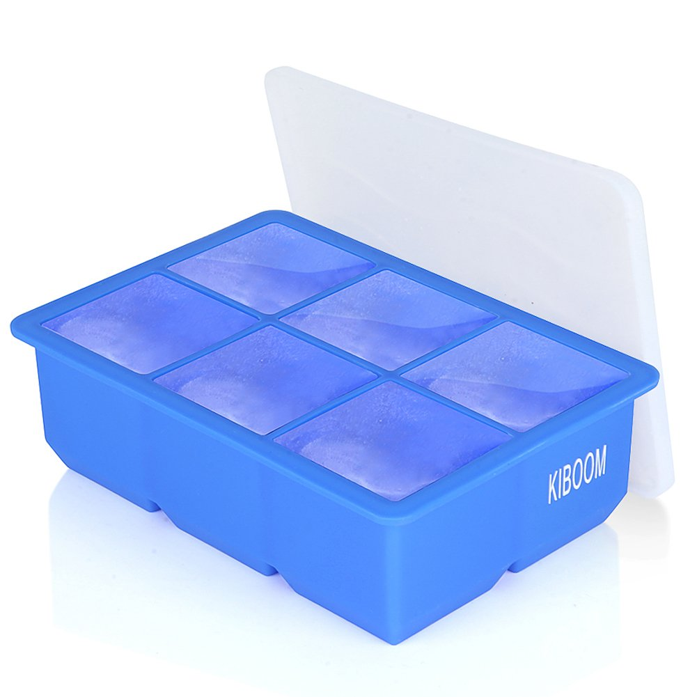 Amazon.com: JuBaoM Ice Cube Mold, Large Tray with Lid & Giant Ice Cube Molds For Cocktails & Whiskey, Reusable & BPA Free (6 Cavity Blue, ...