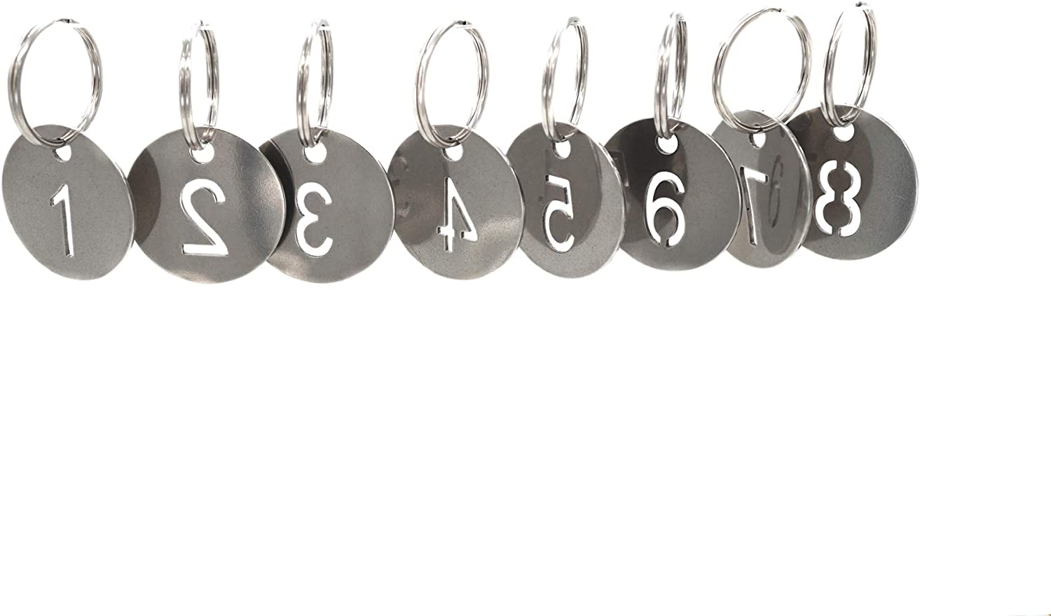 304 Stainless Steel Key Tags with Ring 20 pcs, 25mm Hollowed Number ID Tags Key Chain, Numbered Key Rings - 1 to 20