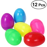LUOEM Plastic Easter Eggs DIY Decorations Happy Easter Stuffer Easter Egg Party Favors,Pack of 12 (Assorted Color)