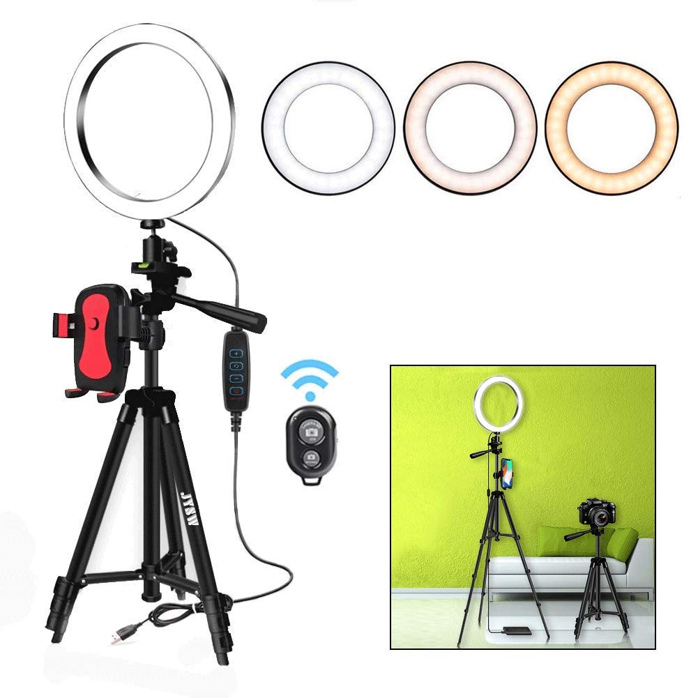 8'' Selfie Ring Light with Aluminum Tripod Stand ,Phone Holder & Remote for YouTube/Makeup,Mini Led Camera Light Ring with 3 Light Modes & 11 Brightness for iPhone/Android (Black Upgraded) by JYSW (Image #1)
