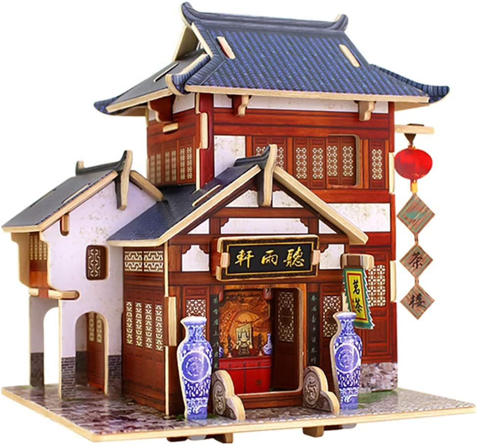 HMANE World Style Chinese Style 3D DIY Assembly Wooden Puzzle House Game Miniature Architectural Model Educational Toy (China Tea House Shape)