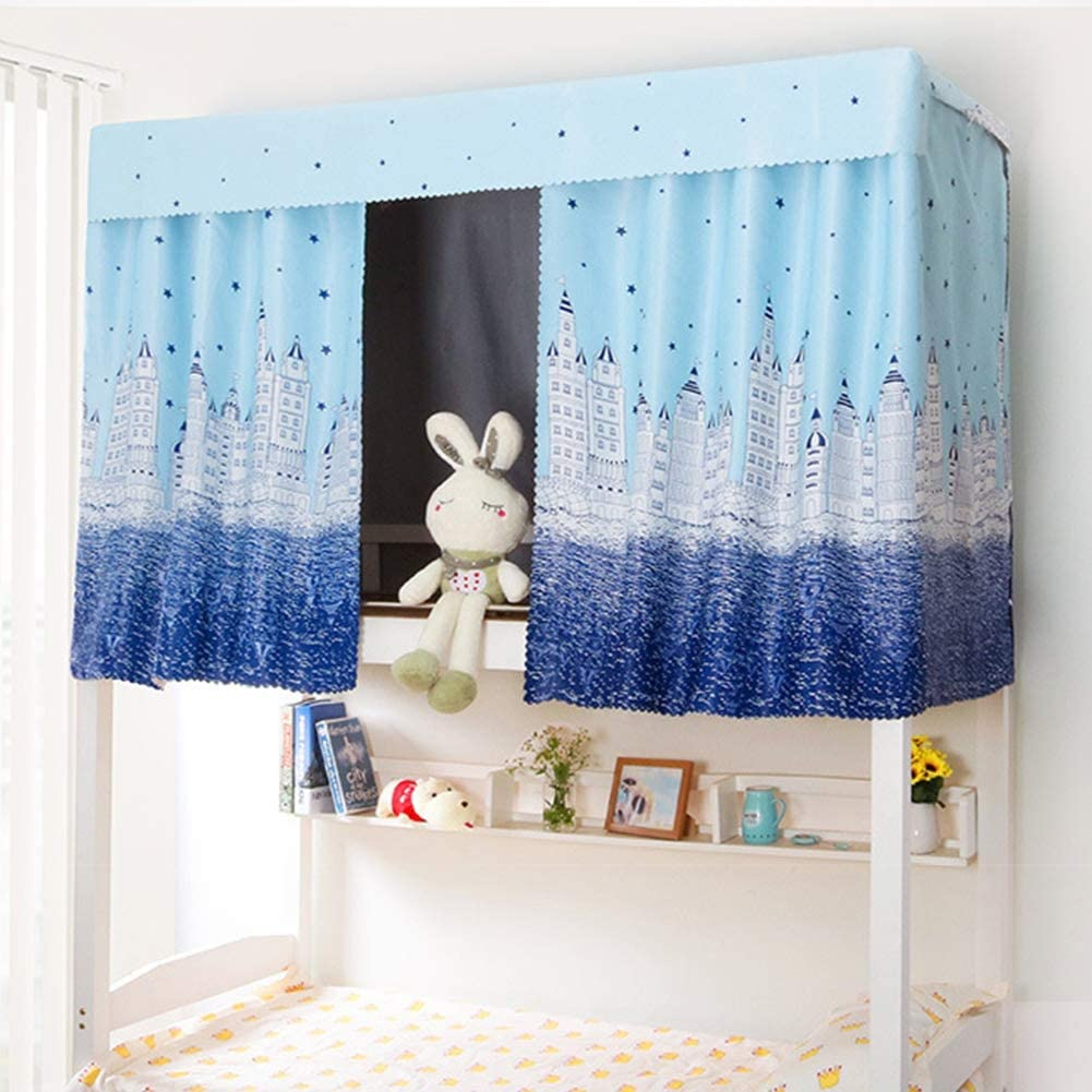 1.15 Students Bunk Bed Curtain Stylish Thicken Canopy Bed Curtains Dustproof Lightproof Blackout Drapery Mosquito Protection Nets Bedding Tent Dormitory Shading Cloth for Single Bed 2.0 m