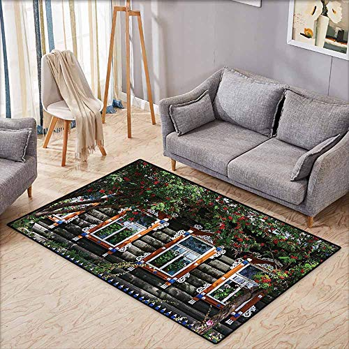 Bath Rug Shutters Decor Wooden House with Shutter at Windows Fence Flower Trees Blooms Dream Home Art Green Brown Super Absorbent mud W6'5 xL4'6 ()