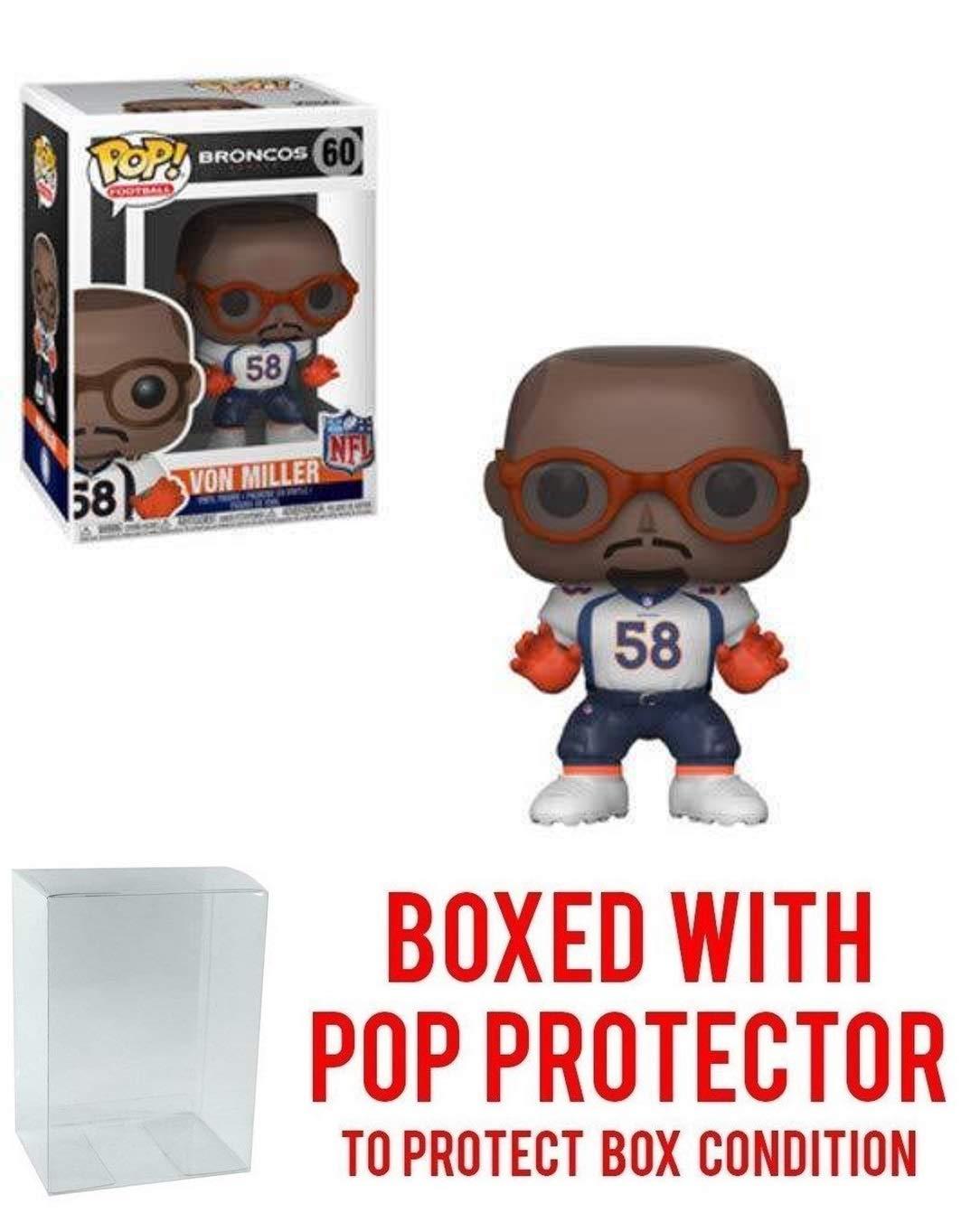 Funko Pop NFL Von Miller Denver Broncos # 60 Vinyl Figure Bundled with Pop Protector