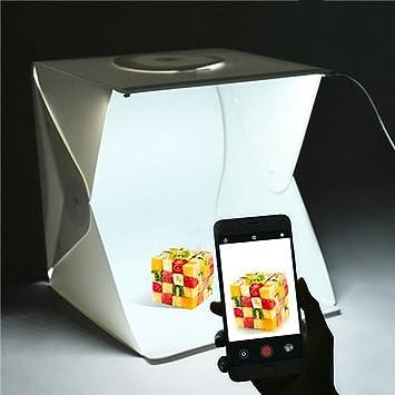 Caja de Fotografía con LED, Caja de Luz fotográfica 2 Telones de Fondo Blanco y Negro: Amazon.es: Bricolaje y herramientas