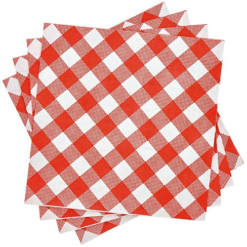 Red and White Gingham Plaid Checkered BBQ Picnic Lunch Napkins - 40 Count -