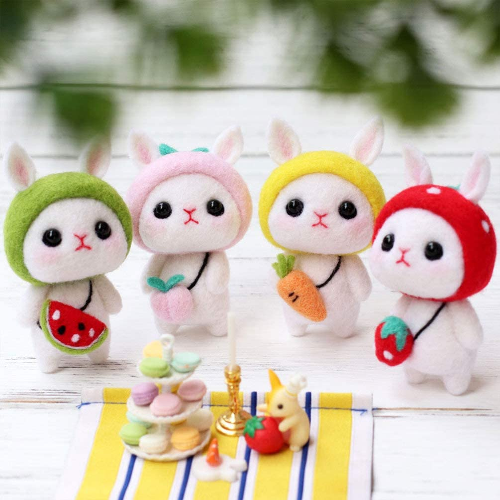 Exceart 1Set Rabbit Needle Felting Kit DIY Plush Doll Cartoon Animals Crafts Gifts for Festival Beginners Starter Child Toddlers