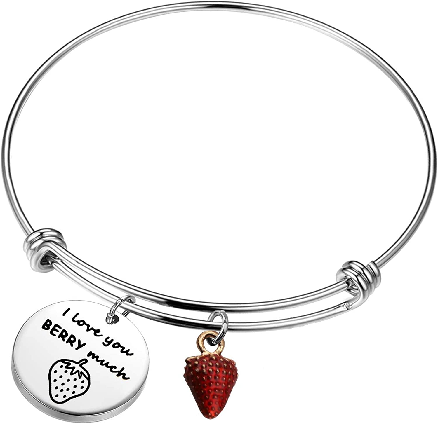 SEIRAA I Love You Berry Much Keychain Strawberry Lover Gift Cute Food Jewelry Strawberry Valentines Gift