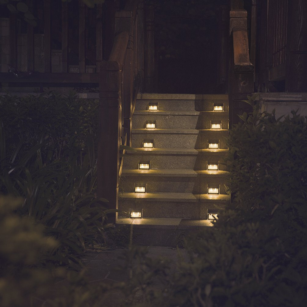 [Warm Light] Solar Lights for Steps Decks Pathway Yard Stairs Fences, LED lamp, Outdoor Waterproof, 12 Pack by XLUX