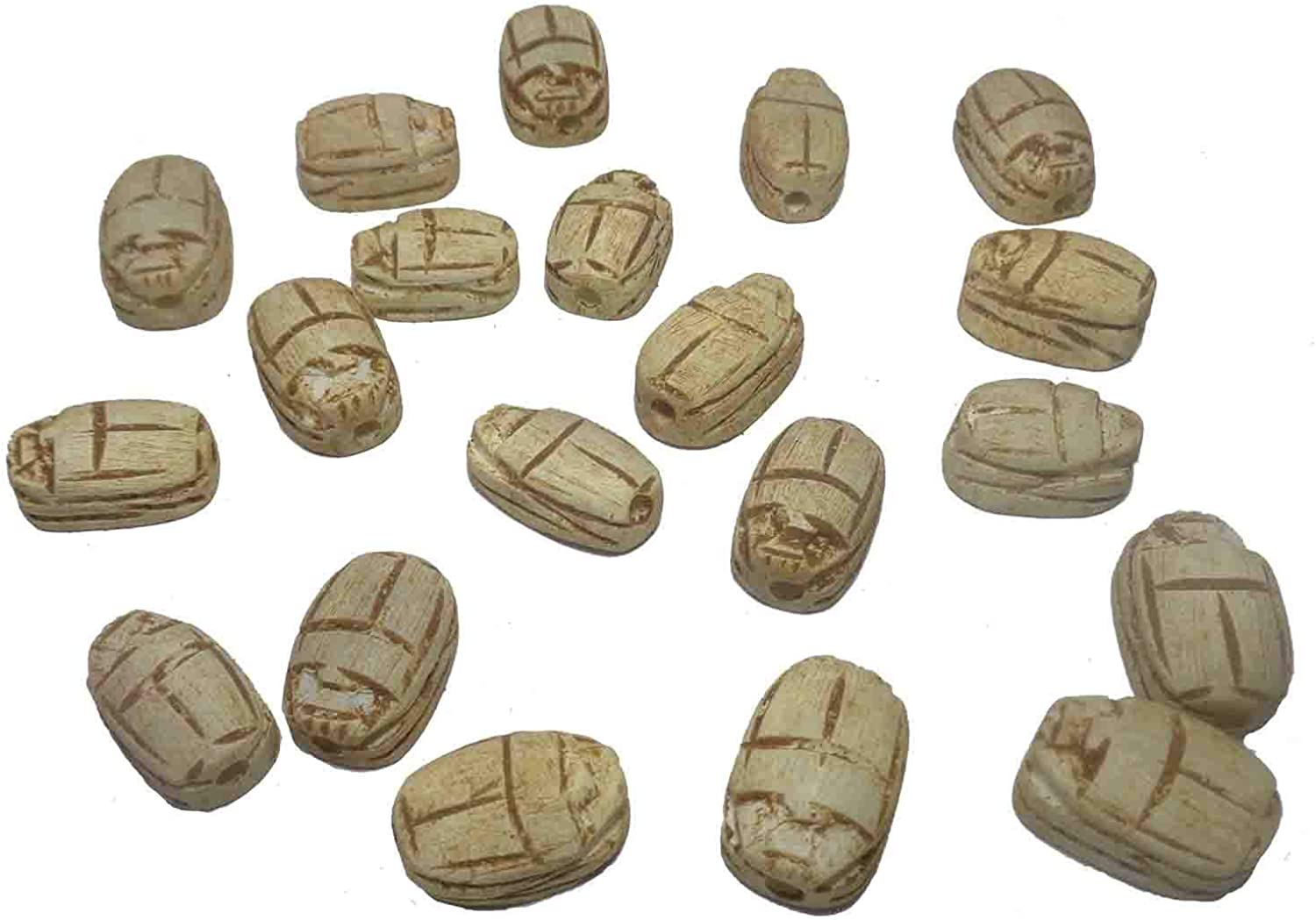 Egyptian Carved Scarab 9 XS ceramic Lucky luxeStone Pendants Beads 20 mm 205