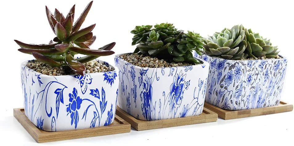 SUN-E 3.54 Inch Square Japanese Style Serial Ceramic Succulent Pots Cactus Planter Flower Pot Container Bright Color Series with Bamboo Tray Drainage Hole Perfect Gift Idea 3 in Set