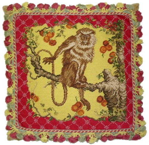 Deluxe Pillows Monkey on Yellow - 22 by 22 in. needlepoint pillow