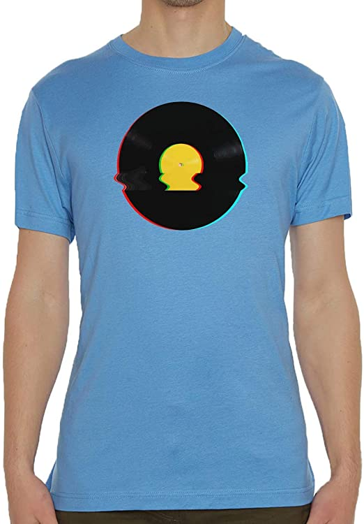 Spinning Vinyl Record Vaporwave Aesthetic Glitch Art Blue Mens Crew Neck T-Shirt S: Amazon.es: Ropa y accesorios