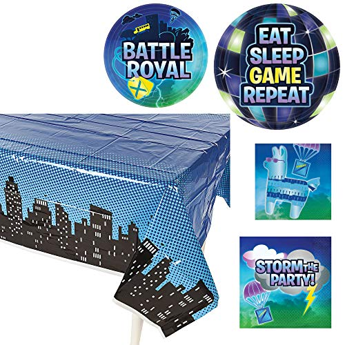 - Amscan Battle Royale Dinnerware Bundle | Luncheon & Beverage Napkins, Dinner & Dessert Plates, Table Cover | Great for Kids Birthday, Gaming & Loot Themed Event, Costume Party