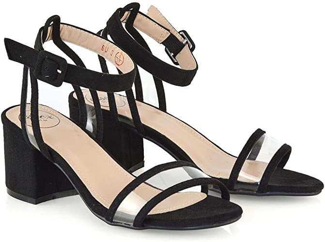 Women/'s Ladies Mid Block Heel Sandals Summer Open Toe Ankle Strap Shoes Size 3-8