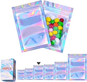 100 Pieces resealable Mylar bags Zip Lock Bags with front window Smell Proof bag Holographic Bags Food Storage Bags for Gift Candy lip gloss jewelry Rainbow Flat small Packaging Bags (4 X 6inch)