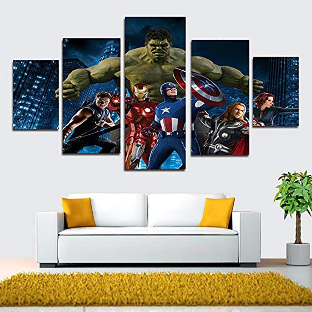 JSBVM 5 Piezas Lona HD Impreso Marvel DC Comic Superheroes Los Carteles Pintura Mural de la Pared Decoraci/ón del hogar