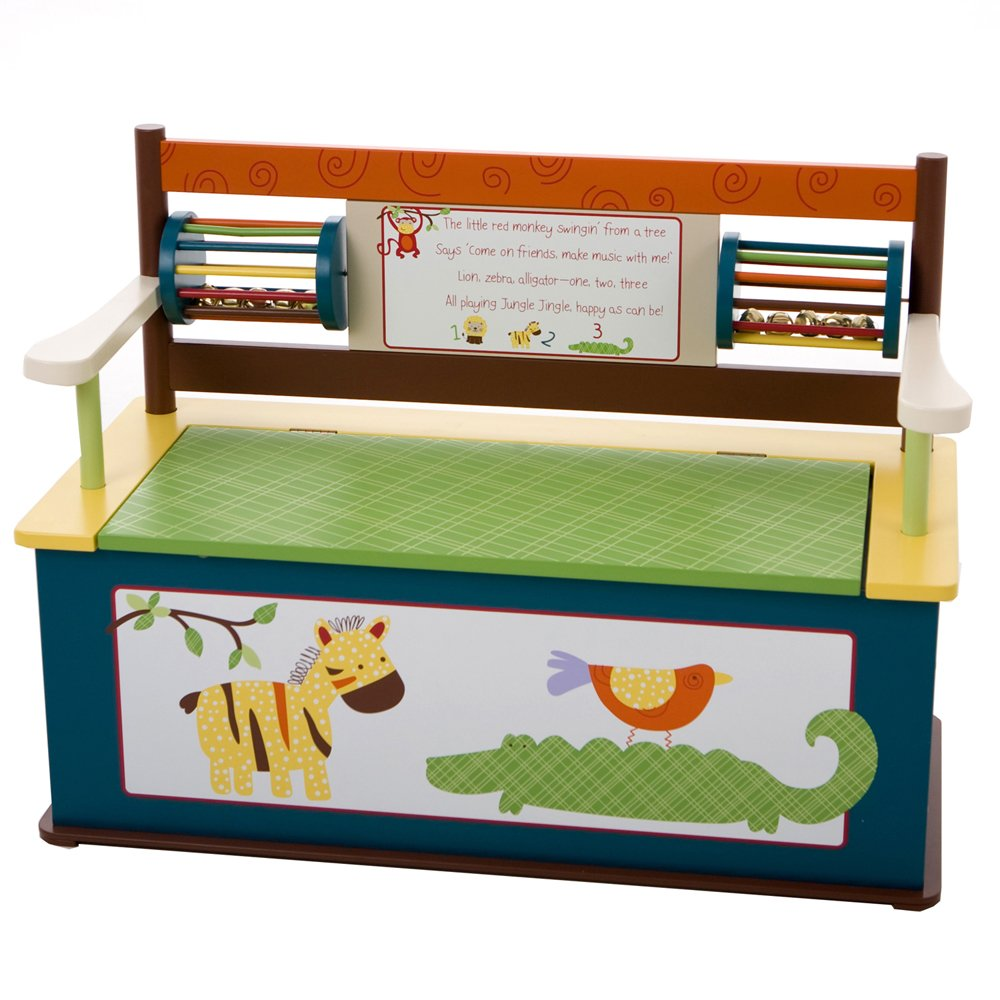 Wildkin Jungle Jingle Toy Box Bench