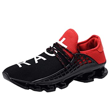 WWricotta LuckyGirls Hombre Zapatillas de Correr Patchwork Elástico Casual Calzado de Deporte Planos Transpirables Zapatos con Cordones Moda Bambas de ...