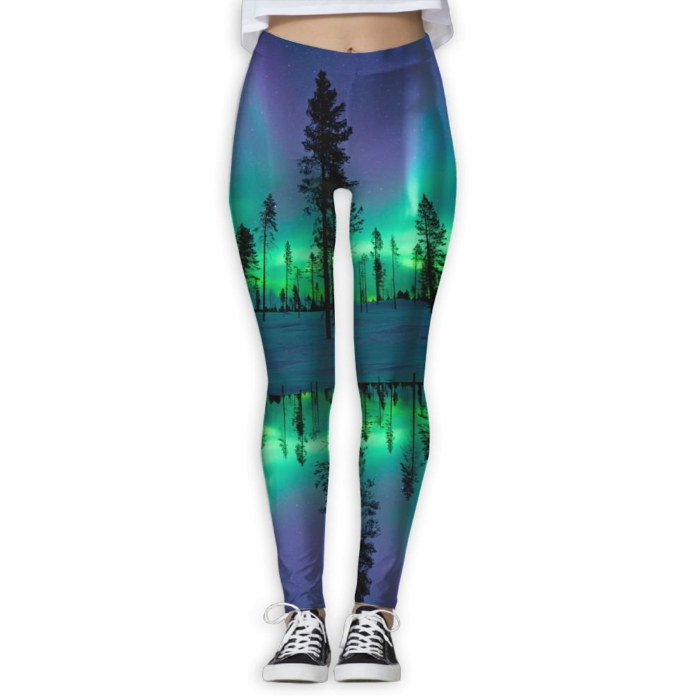 48469f8b5901b Amazon.com: Women's Girl Northern Lights Aurora Borealis High Waist Casual Leggings  Tights Yoga Pants Running Pants Stretchy Sport Pilates Workout Long ...