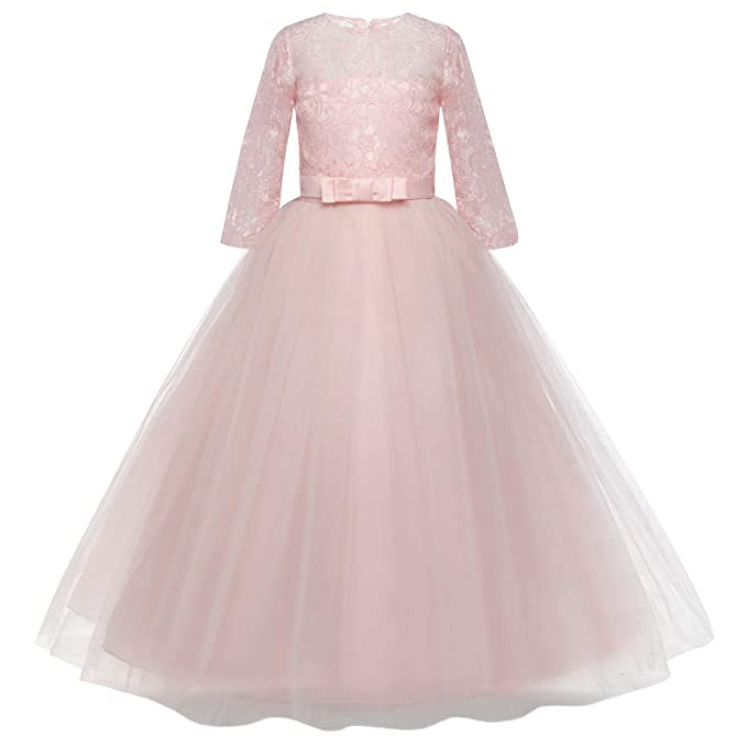 Amazon.com: Feicuan Girls Bowknot Lace Princess Dress ...