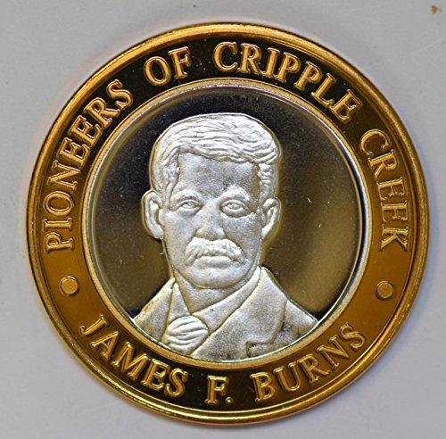 IE BU0336 US casino chip token james burns silver DE PO-01