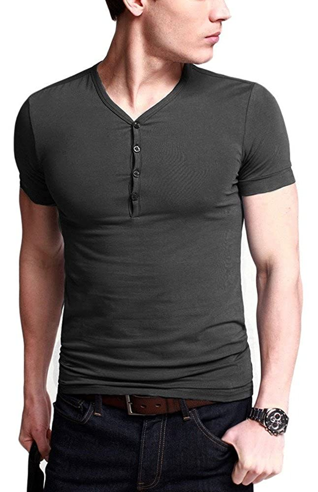 Zinmore Mens Cotton Short-Sleeve Henley T-Shirt with Button Placket V-Neck