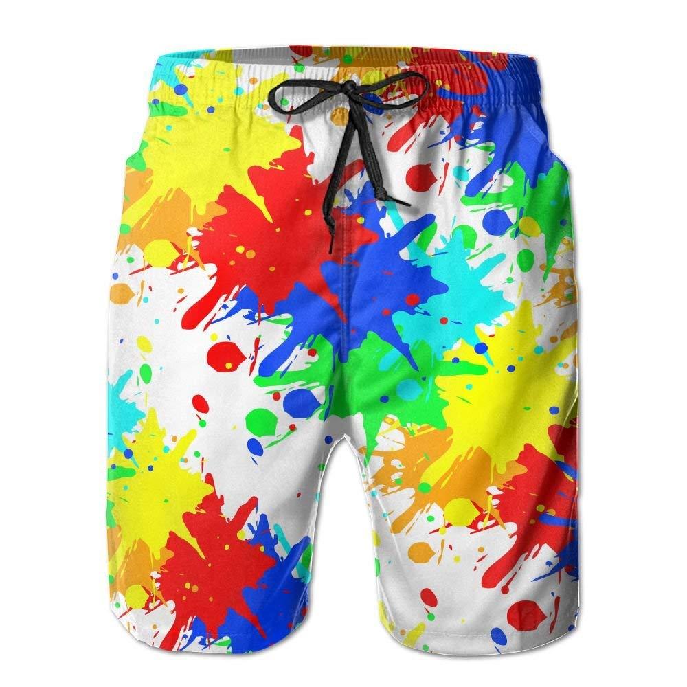 FZYN Paint Splash Mens Summer Casual Beach Board Shorts Breathable Surf Swim Trunks