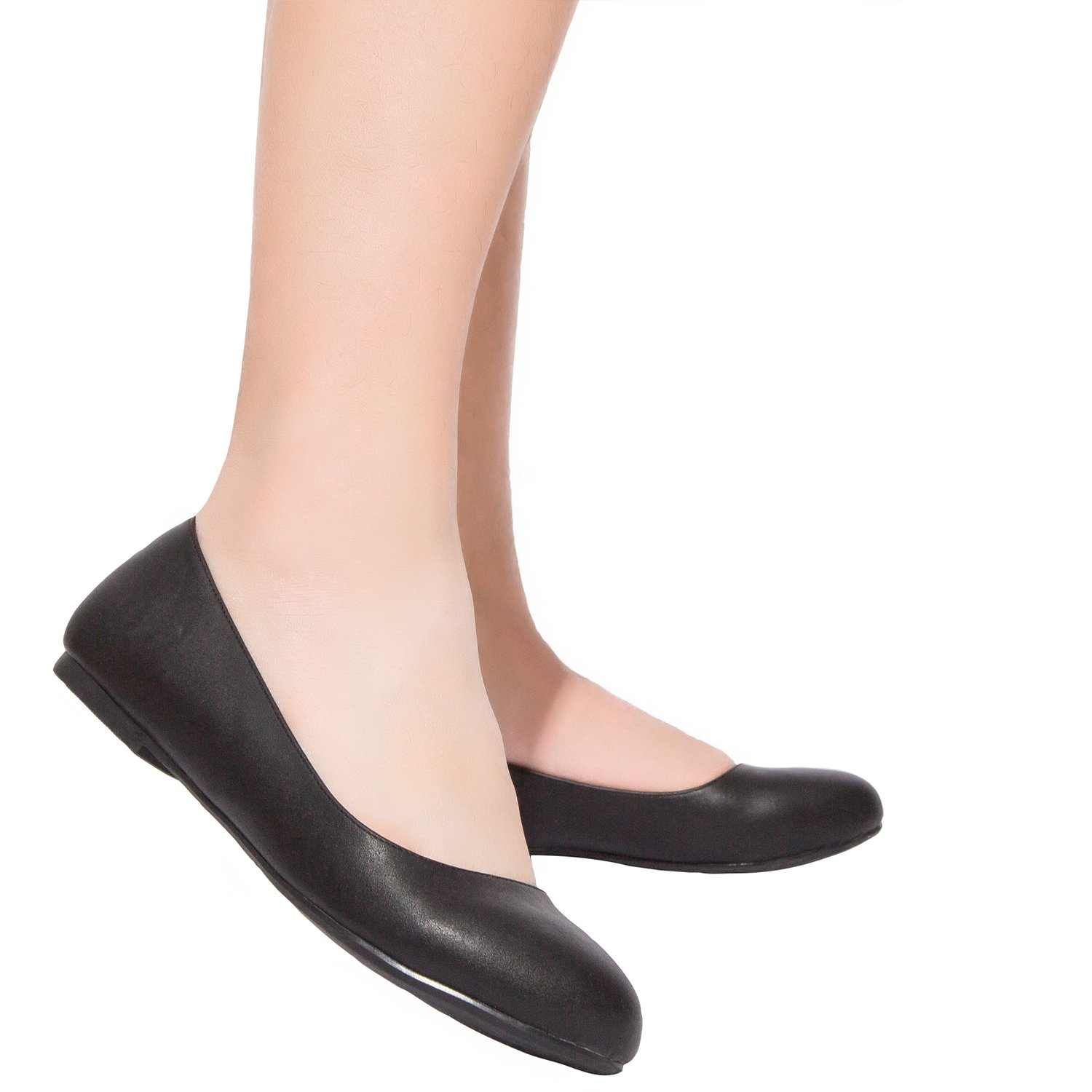 Luoika Women's Wide Width Flat Shoes - Comfortable Slip On Round Toe Ballet Flats. (180110 Black PU,9WW) by Luoika (Image #6)