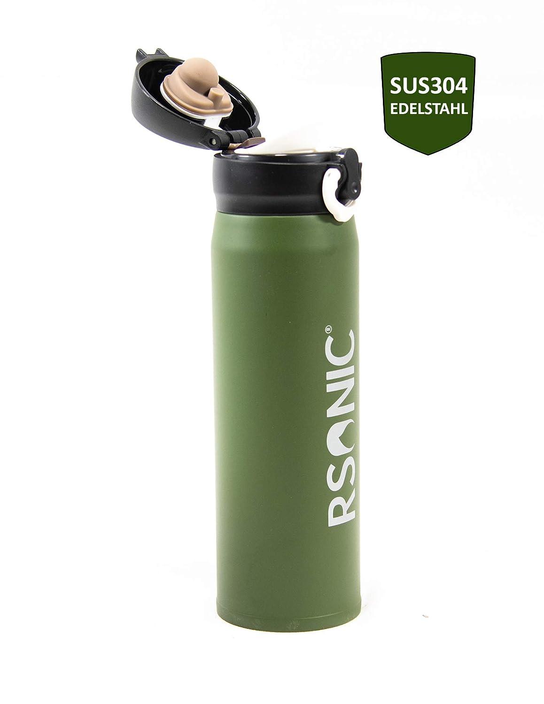 t/é RSonic Termo de Acero Inoxidable de 450 ml Muy Resistente. Botella Aislante con Doble Pared Agua UVM Incluye Vaso para Beber como Tapa para caf/é