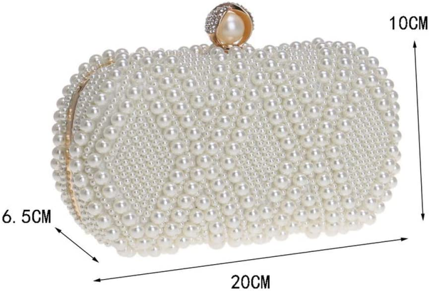 GHANDG Handbag Purse Ladies Clutch Bag Glitter Handmade Pearl Beaded Dress Evening Bag Wedding Purse Party Prom Handbags Clutch Bag Color : Black, Size : 20106.5cm