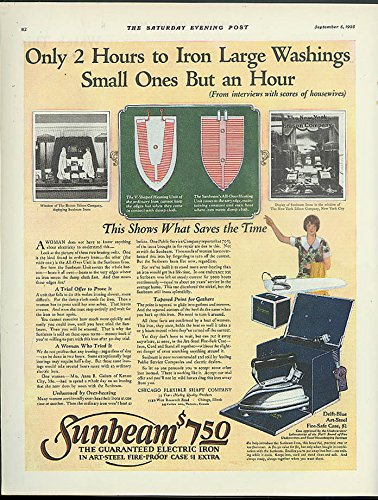 Only 2 Hours to Iron Large Washings Sunbeam Electric Flat Iron ad - Hours Flatirons
