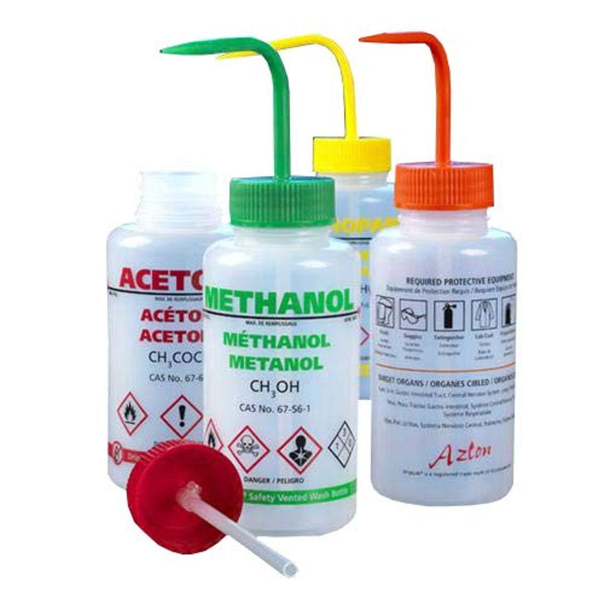 Safety Vented Orange Screwcap Ethanol GHS Compliant Globe Scientific WGW541VTML-GHS1 Low-Density Polyethylene Multi-Lingual Wash Bottle 500 mL
