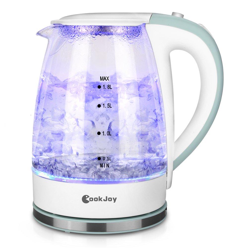 Wasserkocher Glas Weiß mit LED-Beleuchtung, CookJoy BPA-Frei Elektrischer Wasserkocher mit Abnehmbarem Teesieb| 1,8L| 2200W| Trockengehschutz| Automatische Abschaltung Magicook