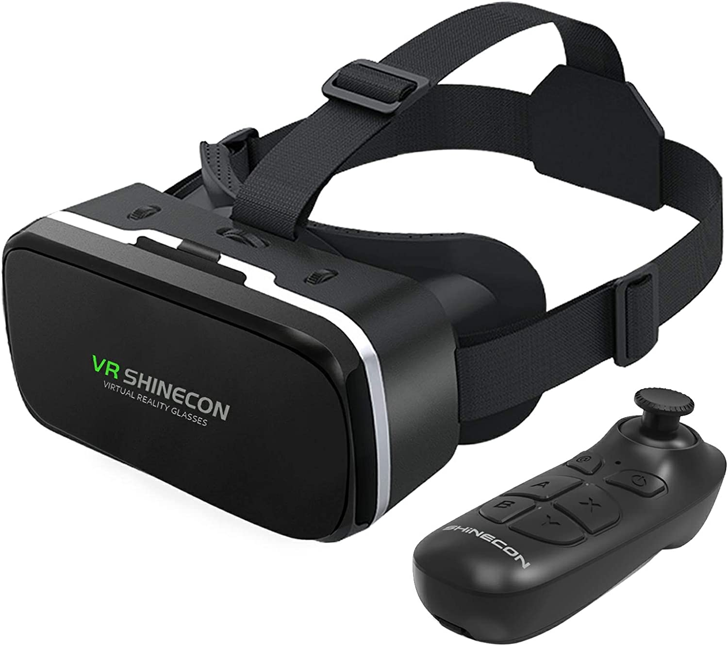 VR SHINECON Headset with Remote Controller 3D Glasses Goggles HD Virtual Reality Headset Compatible with iPhone & Android Phone Eye Protected Soft & Comfortable Adjustable Distance for Phones 4.7-6.53