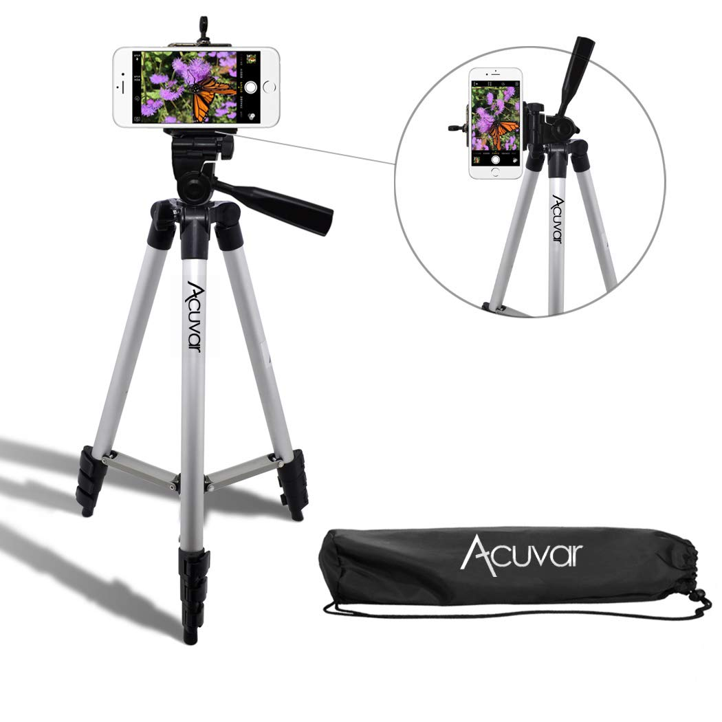 Acuvar 50'' Inch Aluminum Camera Tripod and Universal Smartphone Mount for All iPhone, Samsung and Most Smartphones