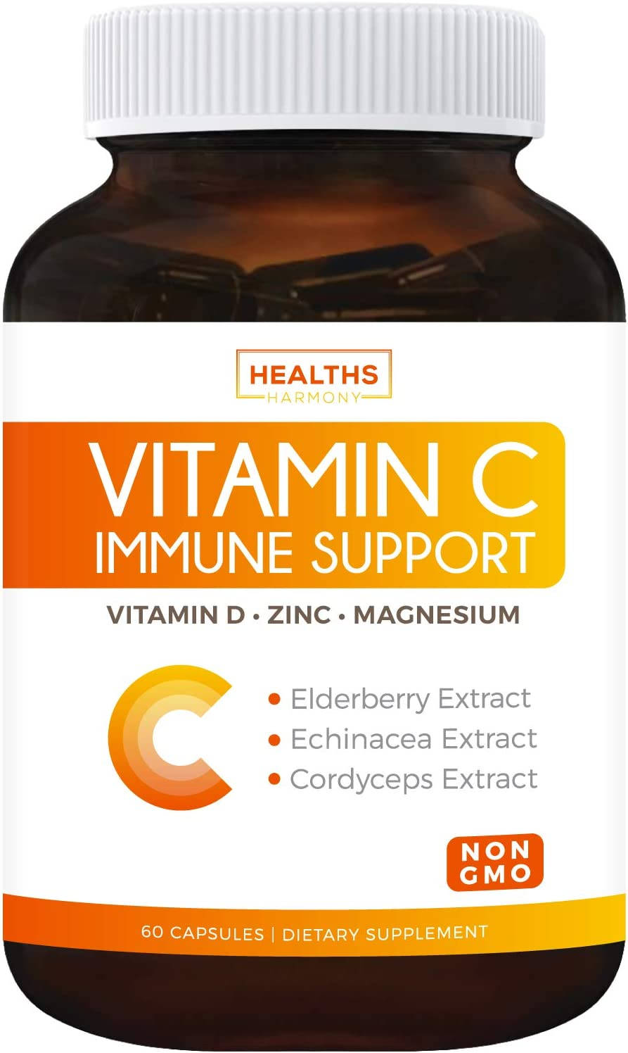 Immune Support - Vitamin C with Zinc, Vitamin D, Elderberry & Echinacea (Non-GMO) Immunity System Booster Supplement - VIT C 500mg - 60 Vegetarian Capsules (No Pills, Tablets, or Gummies)