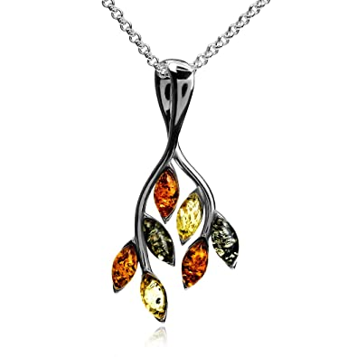 Amber Sterling Silver Oval Pendant Ian and Valeri Co