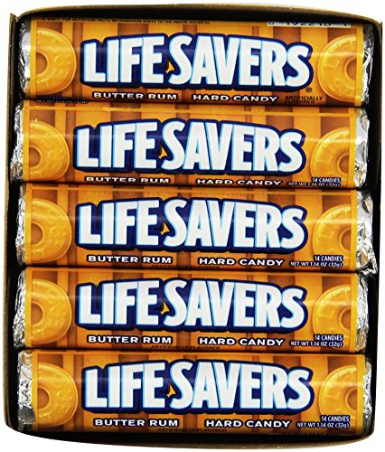 Life Savers Butter Rum Hard Candy, 1.14 ounce (20 Single - Ounce Rolls 1.14