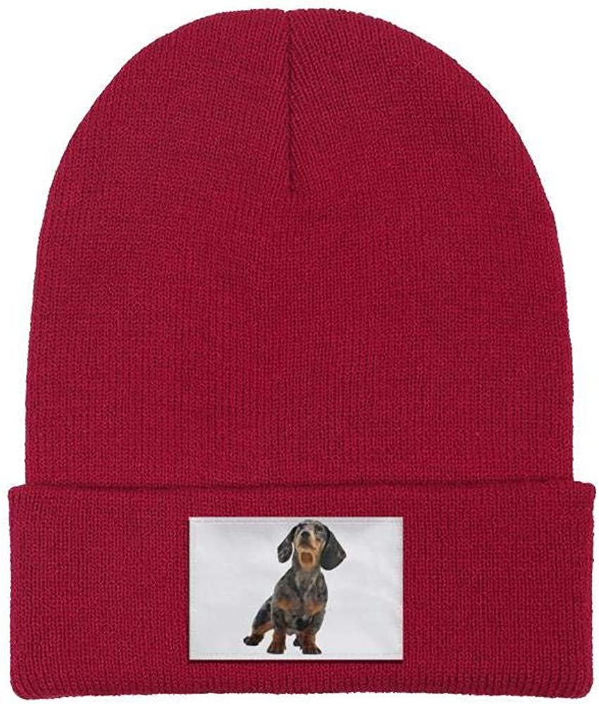 Unisex Knit Beanie Hat Black and Tan Coonhound Warm Winter Skull Caps