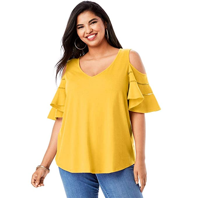 f513fa19bb4e0 Roamans Women s Plus Size Ruffle-Sleeve Top with Cold Shoulder Detail at Amazon  Women s Clothing store