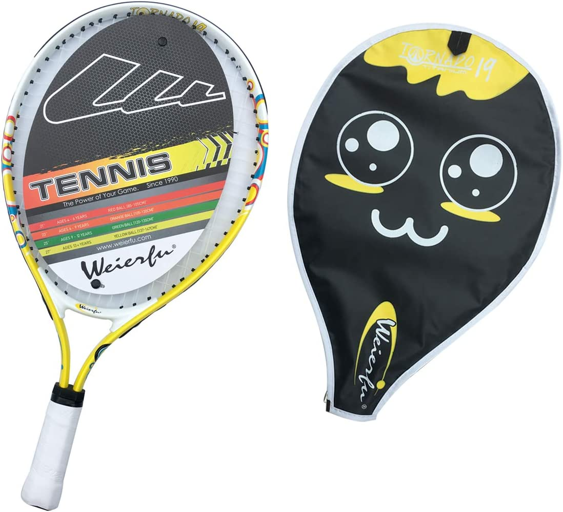 Weierfu Junior Tennis Racket for Kids Toddlers Starter Racket 17-21 with Cover Bag Light Weight