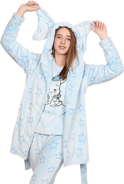 XS-S-M-L-XL Ladies Disney Dumbo Soft Fleece Hooded Dressing Gown Robe New