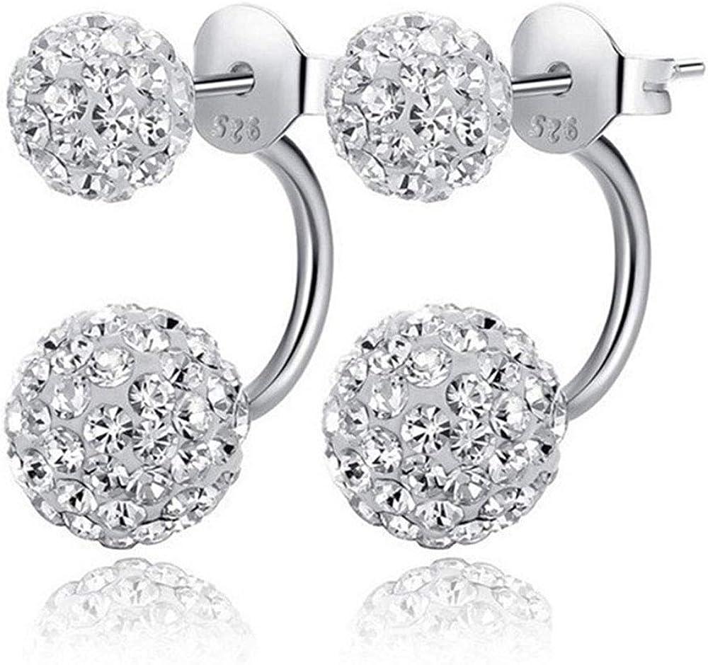 Pendientes estilo Shamballa de doble cara, joyería de marca de moda de plata de ley 925 con bola de cristal para mujer, aretes de doble bola de discoteca en plata