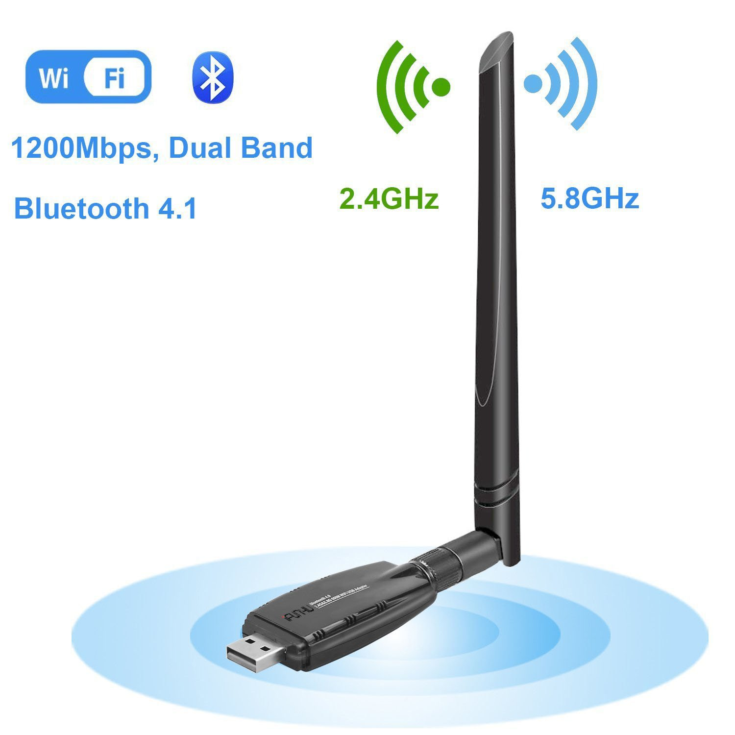Wireless USB WiFi Bluetooth Adapter, WiFi Network Adapter LAN Card AC1200 Dual Band 2.4G/300Mbps+5.8G/867Mbps 5dBi Antenna for Desktop/Laptop/PC, Support Win10/8.1/8/7/XP/Vista/MAC OS 10.9-10.13