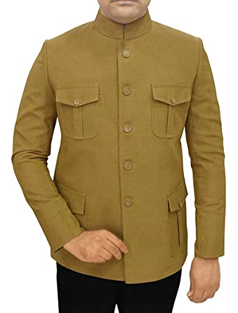 INMONARCH Velours côtelé Olive Hommes 2 Pc Jodhpuri Costume