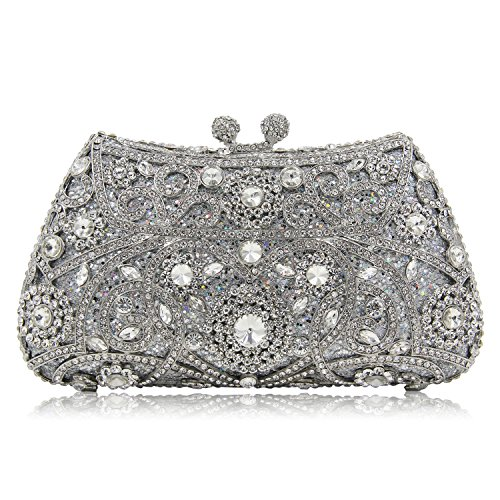 Milisente Bolso de Noche Mujer Clásico Cristal Flores Fiesta Clutch Bag Cartera Embrague (Plateado) Plateado