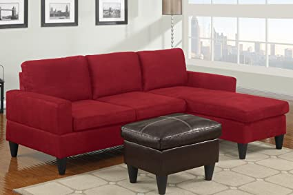 3 Pc Red Microfiber Apartment Size Sectional Sofa With Reversible Chaise  And Faux Leather Ottoman