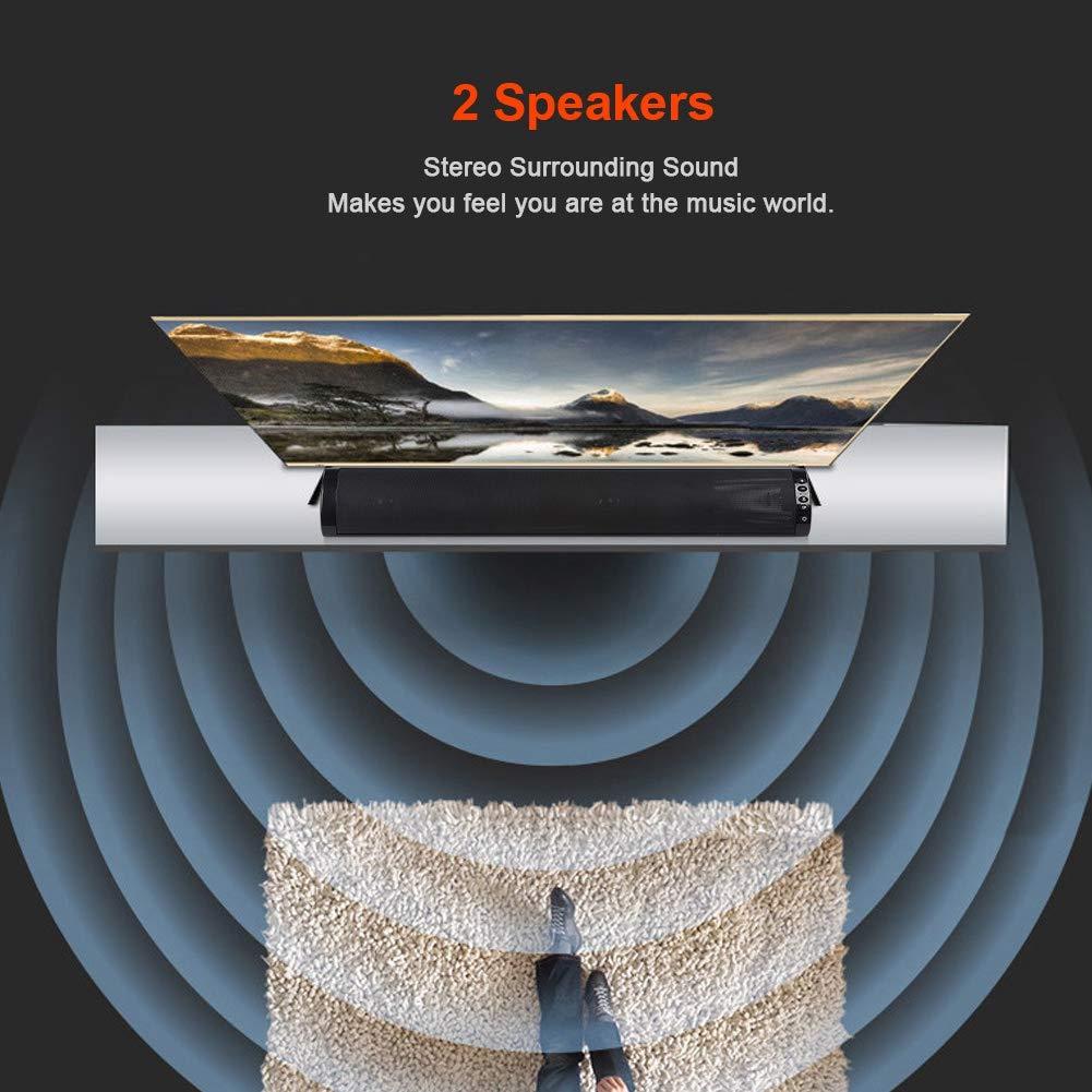 Barra de Sonido Bluetooth Barra de Sonido est/éreo de Cine en casa con Sonido Envolvente con Doble Altavoz est/éreo Supoort Tarjeta TF Entrada de Disco Barra de Sonido Bluetooth de Doble Altavoz